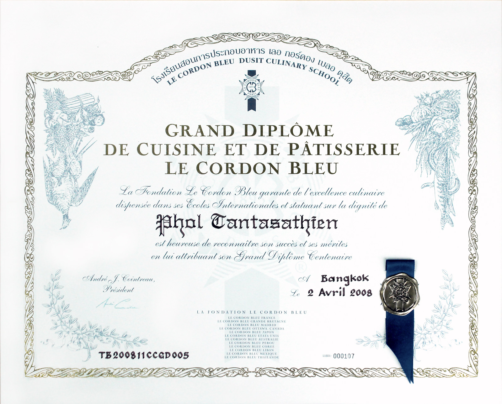 brand endorsement tantasathien  grand diploma a distinction bestowed upon those who graduate the top scores in both courses that moment was a very nice start to my aspirations